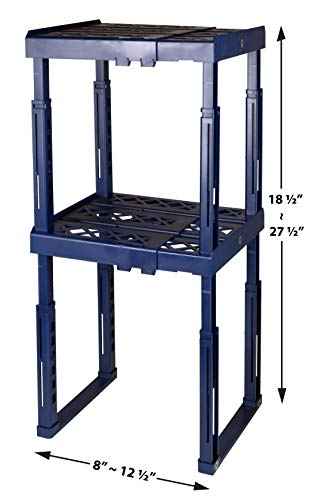 Tools for School Locker Shelf with Adjustable Width 8 - 12 12 and Height 9 34 - 14 Stackable and Heavy Duty Ideal for School Work and Gym Lockers Double Blue