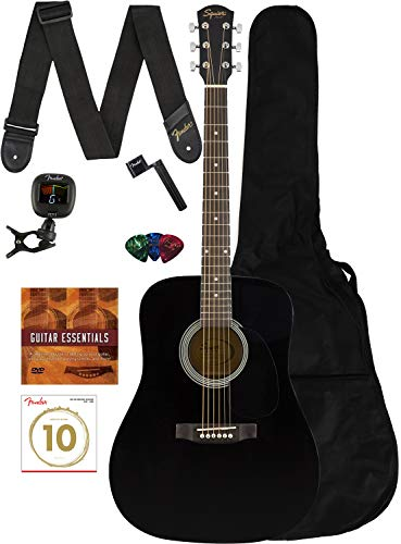 Fender 0950816021-COMBO-DLX Acoustic Guitar Bundle with Gig Bag, Tuner, Strings, Strap, Picks, Austin Bazaar Instructional DVD, and Polishing Cloth