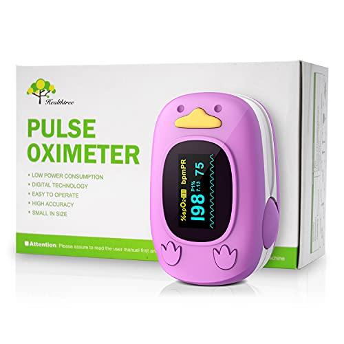 Monitor de oxigenación de dedos para niños, monitor de saturación de oxígeno con monitor de frecuencia cardíaca para bebés y niños pediátricos con pantalla OLED y pilas