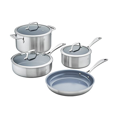 of zwilling j a henckels cookware sets ZWILLING J.A. Henckels Spirit Ceramic Nonstick Cookware Set, 7-pc, Stainless Steel