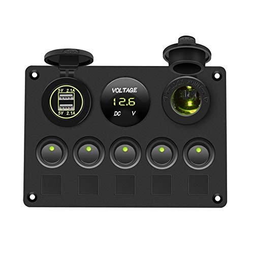 Yuchang LLPing Panel de interruptores de Barco Panel de Interruptor de automóvil Impermeable Voltímetro Digital Doble USB Puerto 12V Combinación de Salida Marina LED Rocker 5 Gang pingpingyuan