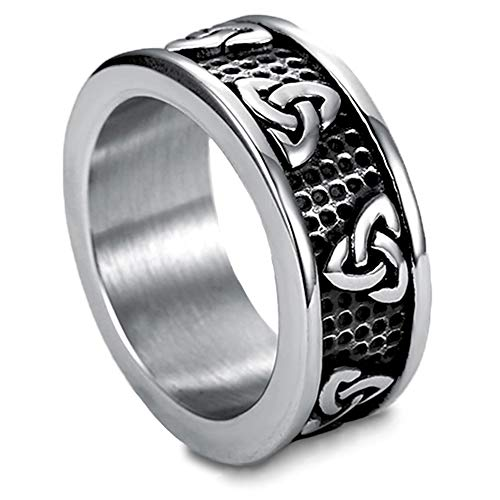 Vintage Viking Warrior Ring, Retro Stainless Steel Finger Ring, Triquetra, Norse Celtic Knot Triangle Finger Ring, Scandinavia Jewelry, Size 7-13,10