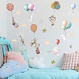 2 Juegos Pegatinas de Pared de Conejito Lindo, Pegatina de Pared de Acuarela Globos, Bebé Niños Hogar Infantiles Dormitorio Vivero DIY Decorativas Adhesivo Arte Murales