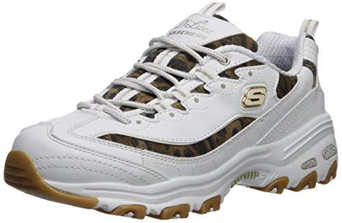 Skechers D'lites-Quick Leopard - Zapatillas de deporte para mujer, color Blanco, talla 42 EU