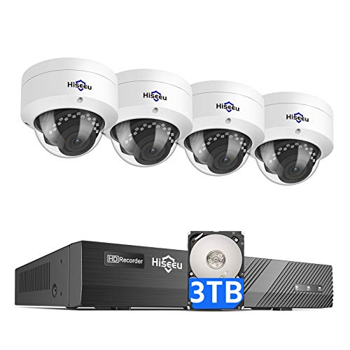 Hiseeu 5MP PoE Security Camera System with 3TB Hard Drive,8 Channel 5MP NVR Security System with 4pcs Dome PoE IP Camera for Home Security,Night Vision,IP66 Waterproof,1-Way Audio,Onvif Support