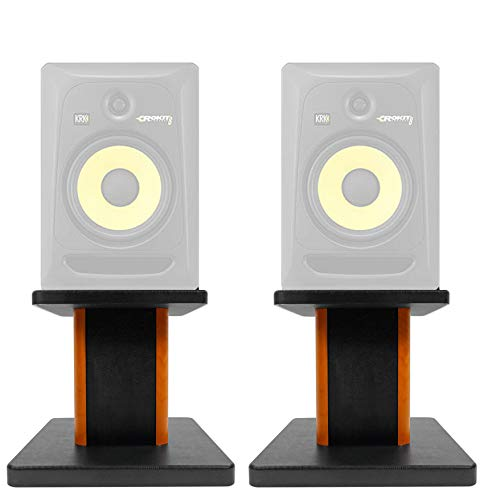 Rockville 8 Wood Studio Monitor Speaker Stands For KRK ROKIT 8 G3 Monitors