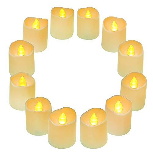 QHYK Flammenlose LED Kerzen 12 Stück, LED Elektrische Tealights, Teelichter flackernd Kerzen, inkl Batterien CR2032, Batteriebetriebene, Flackereffekt Warm-weiß