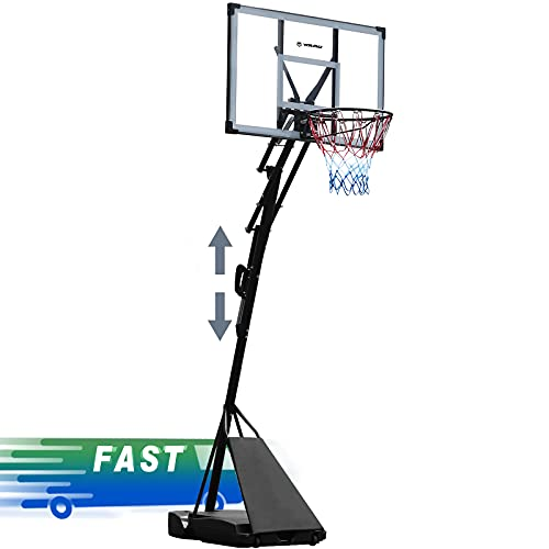 WIN.MAX Portable Basketball Hoops & Goal Outdoor Basketball Equipment Height Adjustable 8 FT to 10 FT 44 Inch Premium PC Backboard with Wheels for Youth Kids & Adults Outside Indoor Use (PC)