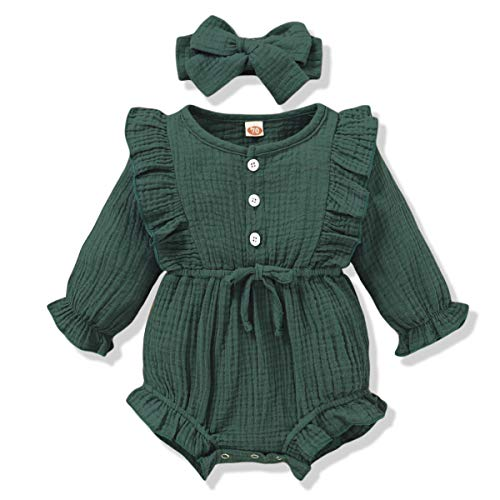 Infant Baby Rompers Girl Cotton Linen Onesie Long Sleeve Jumpsuits One-Piece Bodysuit Baby Girl Clothes 3-6 Months