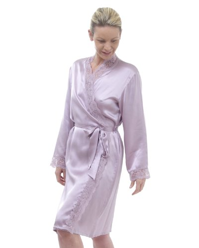 The House of Silk Garni de dentelle de soie court Peignoir - Taille: XL - couleur: lavande
