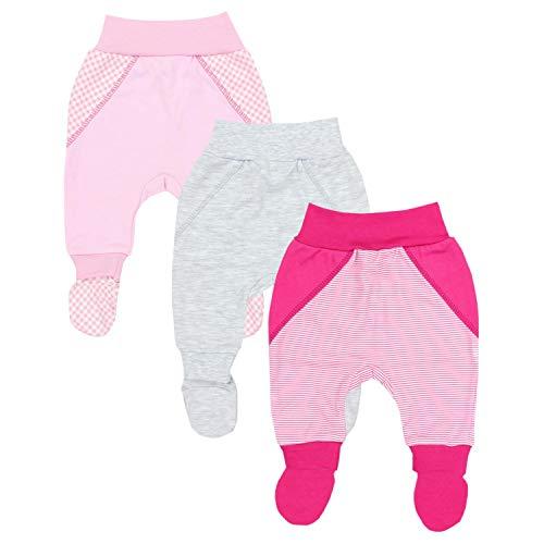 TupTam Pantalón con Pies de Bebé para Niña, Pack de 3, Mix de Colores 1, 74