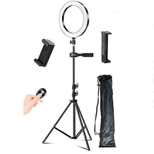 LED Ringlicht, Mit Flachem Clip Schnell Hand Schütteln Artifact, Mobilen Live-Standplatz Foto-Stativ Im Freien Videoaufnahme, Dimmbare Stufenlos Telefon Selfie,1.6m
