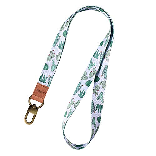 Supgear Lanyard with ID Holder, Neck Strap for Women and Girls Wristlet Keychain Premium Printed Keychain Lanyard for Key, Mobile Phone, Card Holders and ID Badges (Cactus)