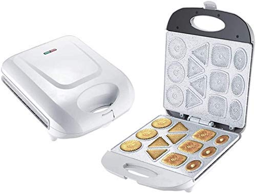 LHJCN Elektrische Keksmaschine, Kuchen Snack Keksmaschine, Antihaft Kreatives Schnelles Frühstück zum Backen, Küche, Pfanne Ofen Geschenk Weiß