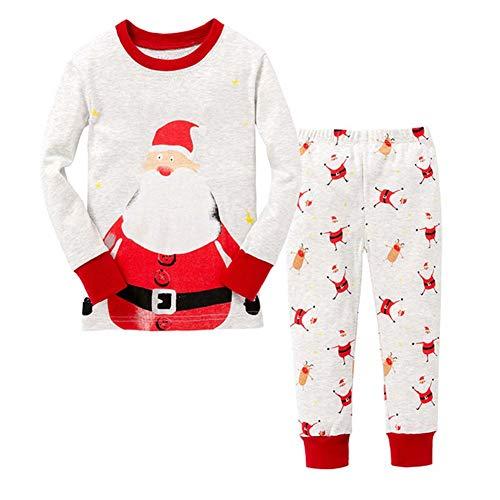 ANBANG Pyjamas Kinder Baumwolle Weihnachtsmann Weihnachtspyjamas Kinder Nachtwäsche...