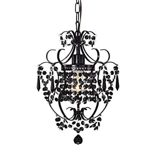 Schwarz Kronleuchter Kristall Hängelampe Pendellampe mit 1 Leuchte Mini Pendelleuchte für Schlafzimmer