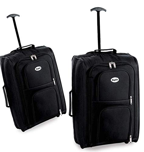 Keplin Lightweight Wheeled Cabin Approved Travel Bag Suitcase Trolley Hand Luggage, Black