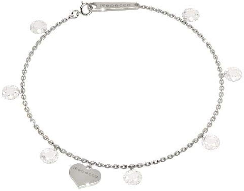 Rebecca bracciale per donna  in argento placcato rodio e pietra bianca. SLCBBB02