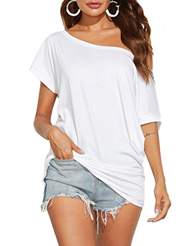 Poetsky Womens Casual One Off Shoulder Shirts Loose Fitting Batwing Top Blouse (L, A2 White)