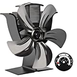 X-cosrack 5 Blades Heat Powered Stove Fan for Wood Log Burner Fireplace Slient Eco-Frienly Fan with Magnetic Thermometer Aluminium Black