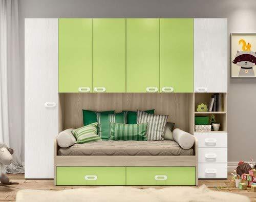 Dormitorio Puente Modelo Zanzibar Reversible Color en las fotos: Olmo Astoria - Blanco Frassinato - Verde.