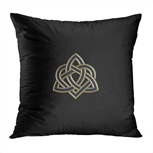 Suklly Fancy Black Celtic Trinity Heart Knot Hidden Zipper Home Sofa Decorative Throw Pillow Cover Cushion Case Square 18x18 Inch Two Sides Design Printed Pillowcase
