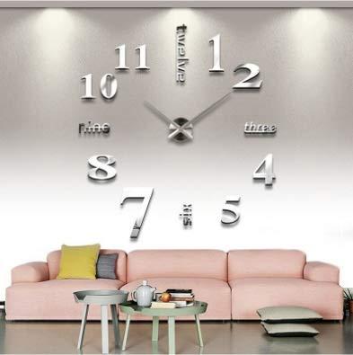 Bordied Casa de Pared Grande Reloj de Pared 3D DIY Reloj de acrílico Etiquetas de Espejo de acrílico Decoración del hogar Sala de Estar Aguja de Cuarzo Auto Adhesivo Reloj Colgante Tapiz