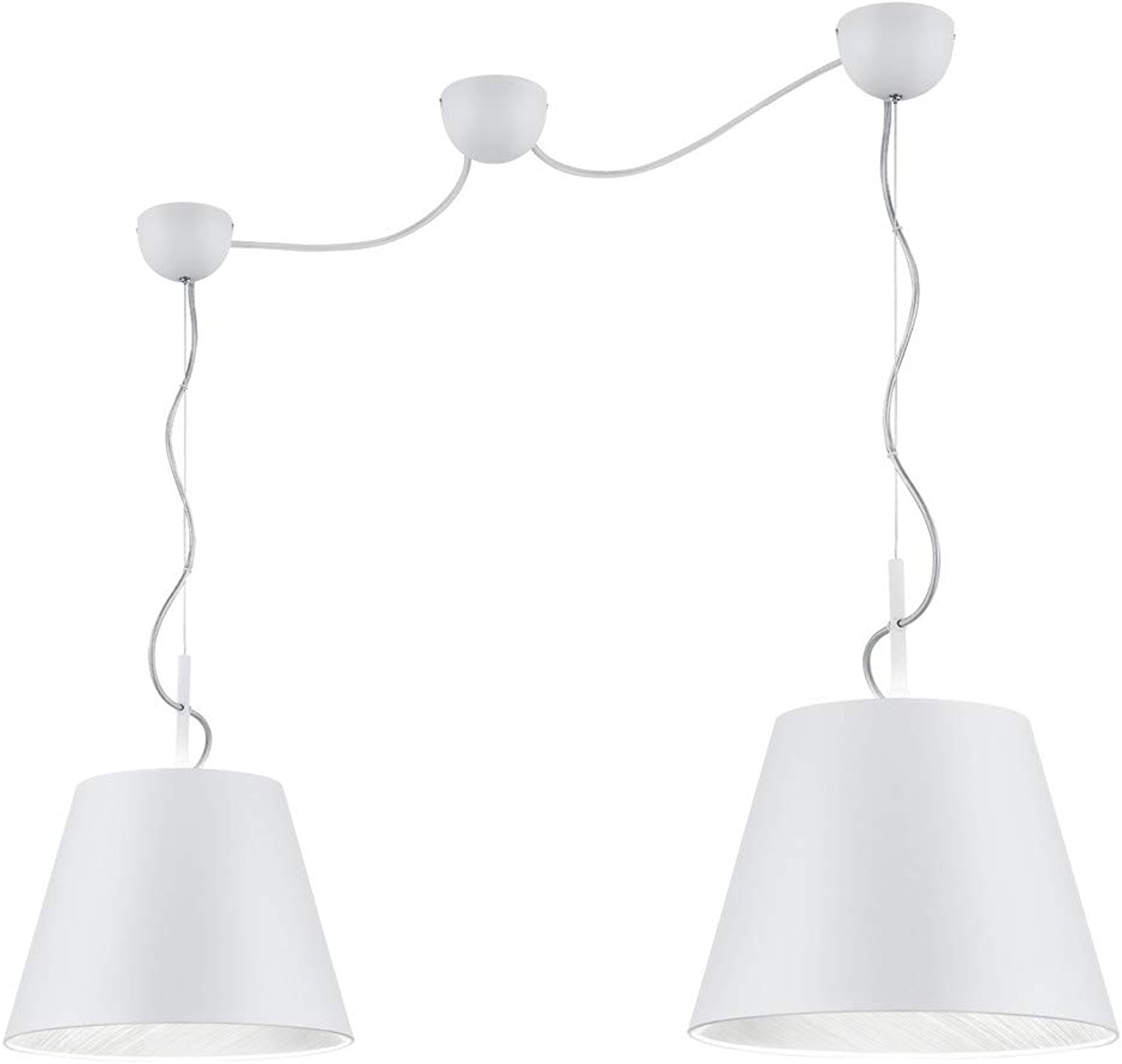 Trio Leuchten 307500289 Lampe suspendue, Métal, Blanc Matt argentfarbig
