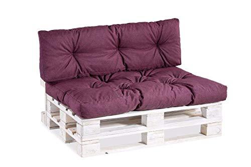 Palettenkissen Palettenauflagen Sitzkissen Rückenlehne Gesteppt PPI (Set (Sitzkissen 120x80 +Rückenlehne 120x40), Violett)