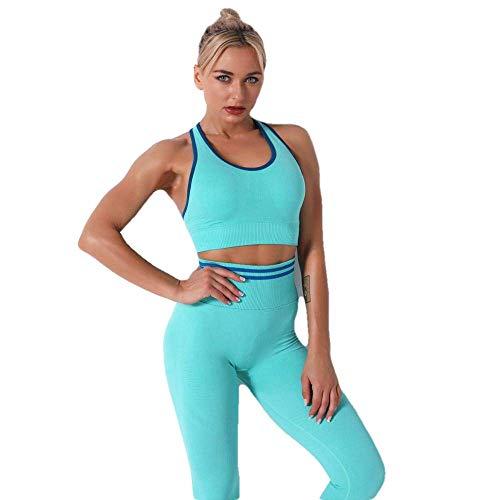 MNBGHJ Conjunto de Yoga sin Costuras para Mujer, Conjunto Deportivo, Mallas de Gimnasio, Entrenamiento, Deporte, Traje de Yoga, Ropa Deportiva