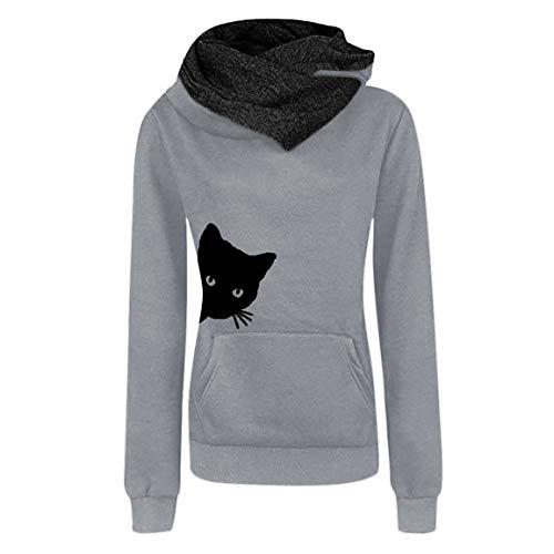 Frauen Katze Druck Ärmel Pullover Damen Mit Kapuze Vollärmelige Jacke Mode Lässig Shirts Tops Bluse Sweatshirt Moonuy