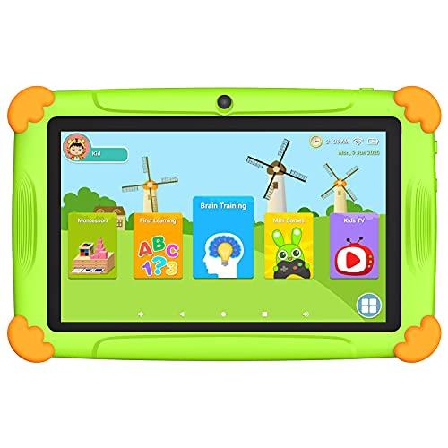 Tablet per bambini Android 10.0 con WiFi 7 pollici, 32 GB, Rom, 3 GB, Ram, certificato da Google GMS & controllo Parental YouTube, tablet touch per bambini