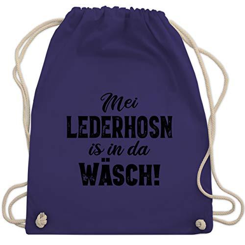 Shirtracer Oktoberfest Kind - Mei Lederhosn is in da Wäsch! - schwarz - Unisize - Lila - Lederhose - WM110 - Turnbeutel und Stoffbeutel aus Baumwolle