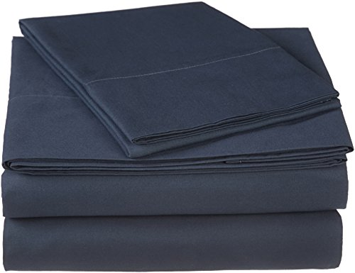Pinzon 300 Thread Count Ultra Soft Cotton Bed Sheet Set, Twin, Midnight Blue