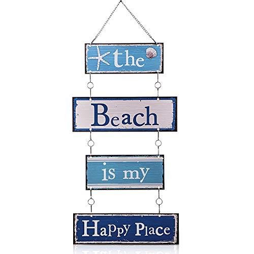 Letrero de Puerta Pared Placa de Playa con Diseño Vintage Colgante de Metal con Estrella de Mar Tachonada de Diamantes, Cartel de Metal Decorativo de The Beach is My Happy Place