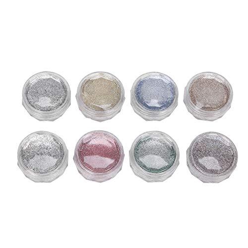 8Pcs Glitter per unghie Colorato per uso domestico Polvere per unghie Glitter Polveri Manicure Powder Custodie per cellulari fai-da-te Decorazioni artistiche Nail art Design di bellezza Viso Corpo Gli