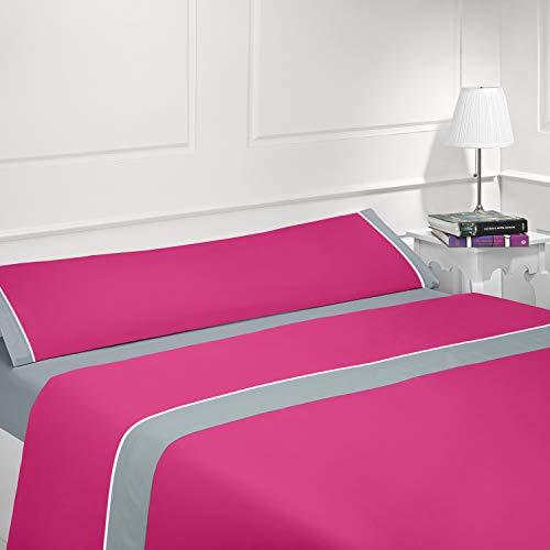 Coflor Juego de sábanas Lisas - Bicolor - Tres Piezas - Tacto Seda - Microfibra Transpirable (Fucsia/Gris, 135_x_190/200 cm)