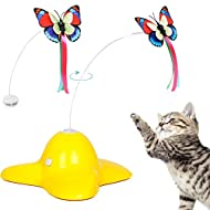 Bascolor Electric Rotating Butterfly Cat Toys with 2PCS Flashing Butterflies Interactive Cat Teaser Toy