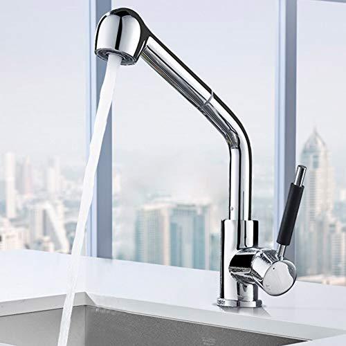 Moderne Hot & Cold Mixer Einhand-Küche-Wannen-Hahn, 360 ° Schwenk Armaturen Einfache Installation Gewerbe Küchenarmaturen, Bleifreier massiven Messing-Chrom-Hahn