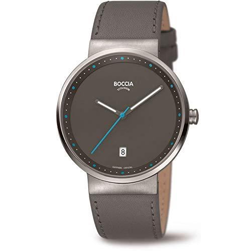Boccia Unisex Erwachsene Analog Quarz Uhr mit Leder Armband 3615-03