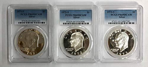 1971 S 1972 S 1973 S Silver Eisenhower Ike Dollar 3 Coin Set PR69DCAM