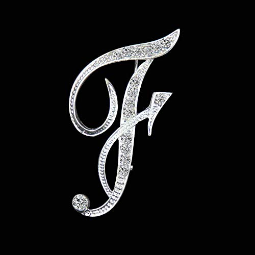 New Crystal Rhinestone Brooches Initial Letter Brooch AS Clip Name Pins and Brooches Jewelry for Women Men Wedding-Letter_F