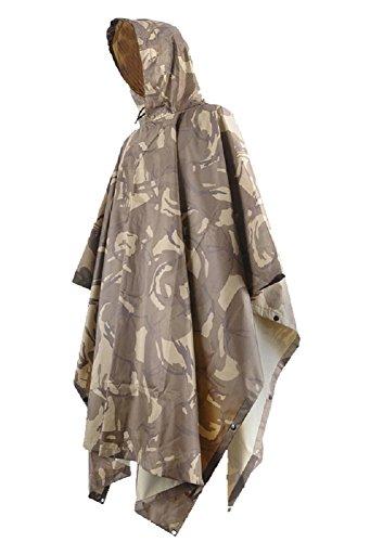MissFox Tornado Poncho Impermeabile, Tenda, Mantello, Camping e Outdoor, Deserto Camouflage