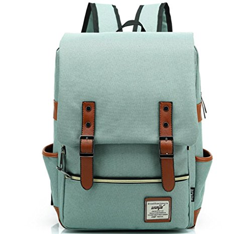 XibeiTrade Vintage Backpack Travel Casual College Canvas Daypacks (Green)