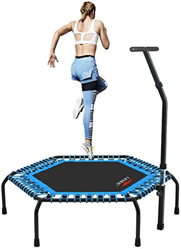 """leikefitness Professional Gym Workout 50"""" Fitness Trampoline Cardio Trainer Exercise Rebounder with Adjustable Handle Bar Max Load 330lbs(5650SH-Blue)"""
