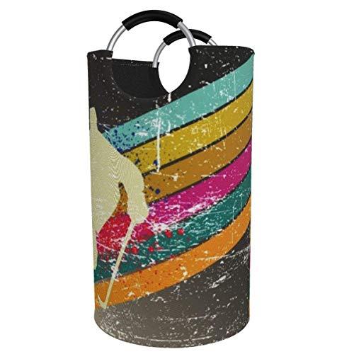 Suzanne Betty Cesto para la colada extragrande de 82 L, estilo vintage, plegable, con asas de aluminio, cesta grande para la ropa de niños, cesta de almacenamiento redonda para dormitorio