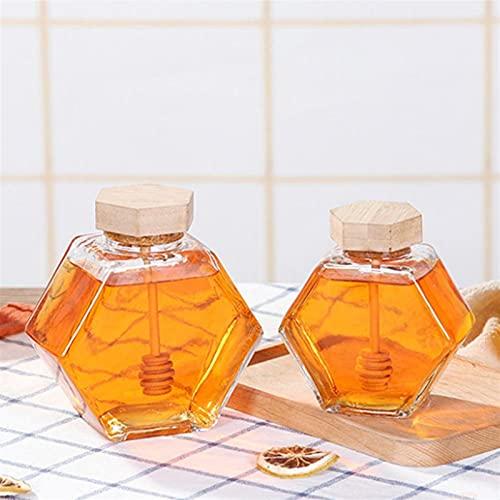 AIRUYI Carro de Miel Vidrio Hexágono Forma Honey Pot Recipiente con cazo de Madera y tapón de Tapa de Corcho Honey Syrup Beehive Storage para su Cocina (Color : 220ml)