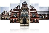 アメリカン大学の額縁ヴィンテージウォールアートベッドルームハーバードメモリアルホール建物の絵画5パネルキャンバスアートワークプリント家の装飾