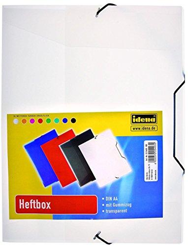 Idena 225403 - Heftbox für DIN A4 mit Gummizug, aus PP, Füllhöhe 3,5 cm, transparent, 1 Stück, weiß