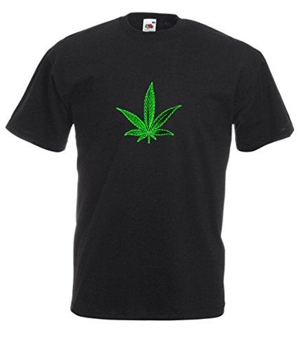 MFAZ Morefaz Ltd. - Camiseta de ganja Leaf Weed, plátano raspador de bandera, pantalones cortos 420 Black T-shirt Leaf Green New S